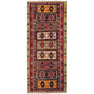 Price comparison One-of-a-Kind Romilly Handwoven Flatweave Runner 5'2 x 12'4 Wool Red/Black/Blue Area Rug By Isabelline