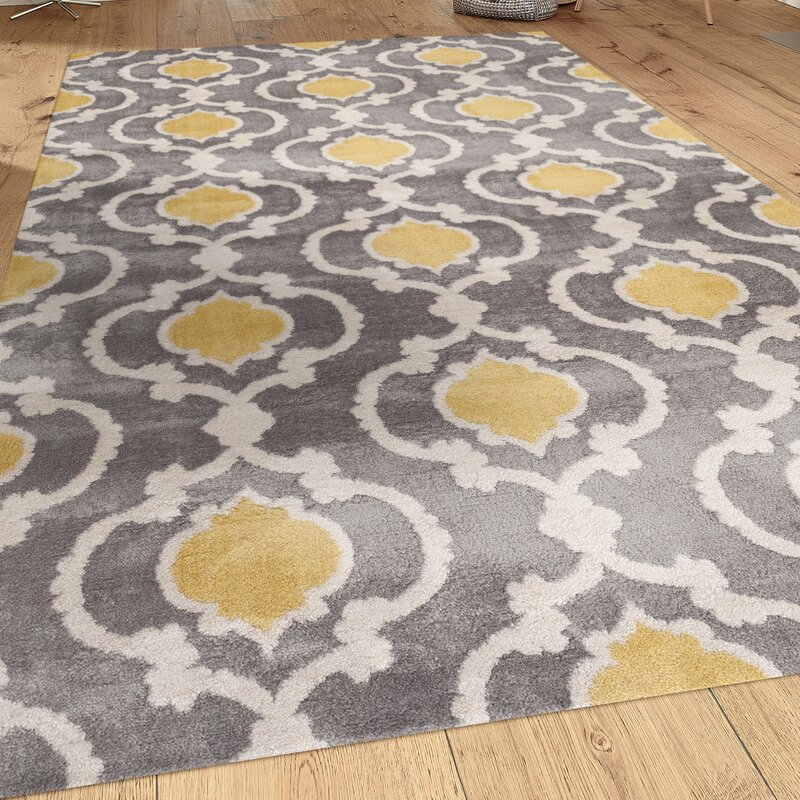 Melrose Gray Yellow Area Rug