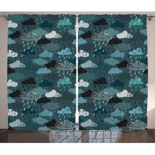 Gabriela Decor Graphic Print & Text Semi-Sheer Rod Pocket Curtain Panels (Set of 2) by Zoomie Kids
