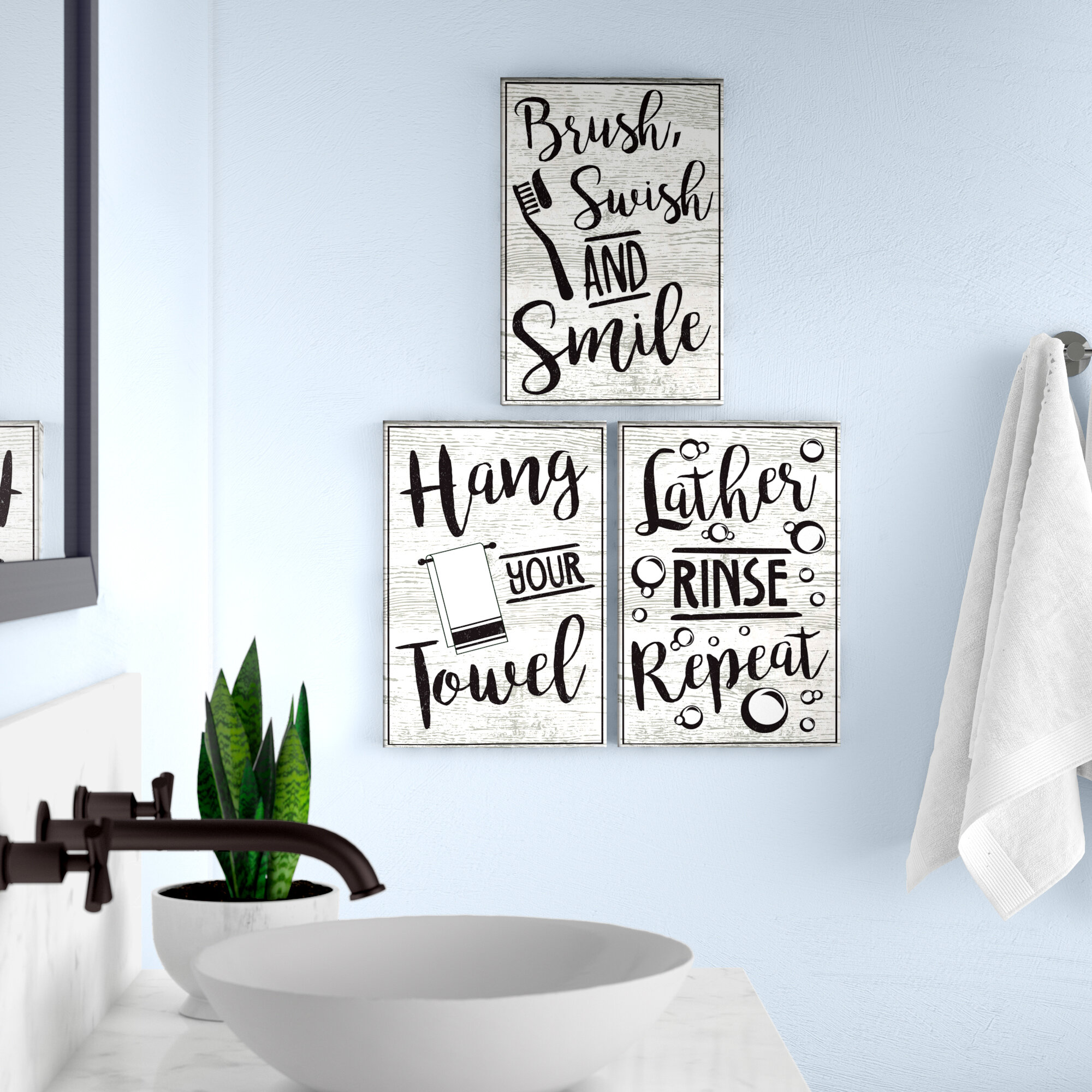 Winston Porter Lather Rinse Repeat Hang Your Towel And Brush Swish Smile 3 Piece Textual Art Set Reviews Wayfair