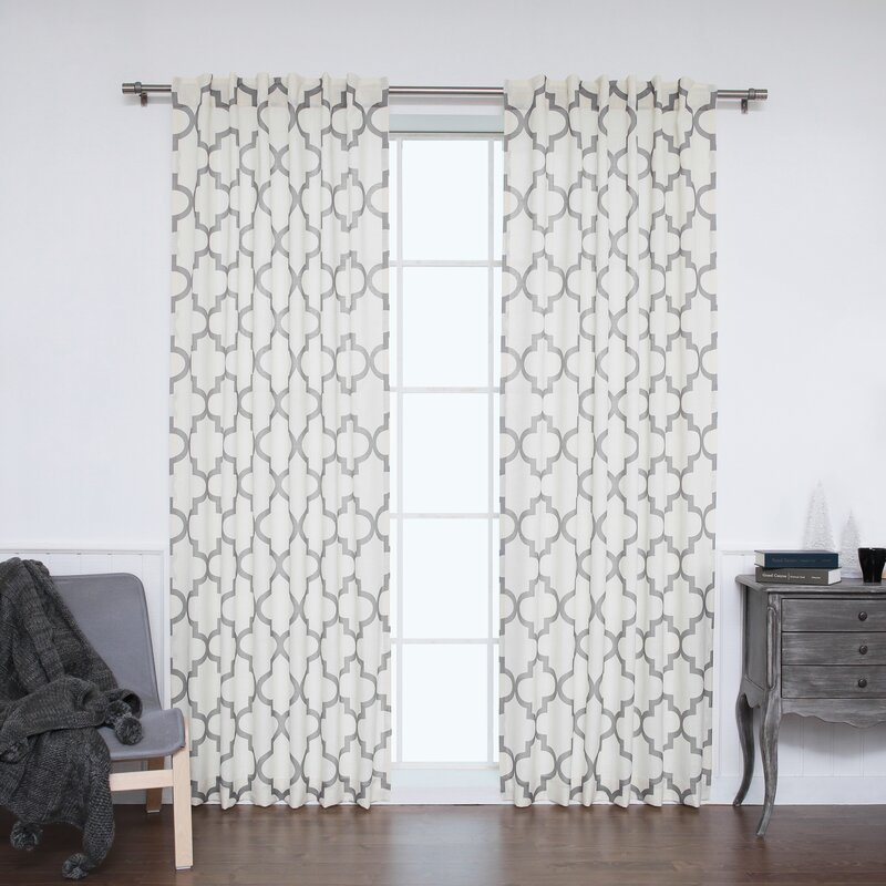 Attractive Moroccan Geometric Sheer Rod Pocket Curtain Panels