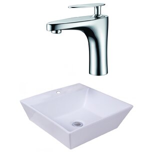 Ceramic Square Vessel Bathroom Sink with Faucet and Overflow ByAmerican Imaginations