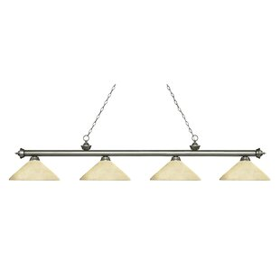 Zephyr 4-Light Cone Glass Shade Billiard Light with Hanging Chain by Red Barrel Studio