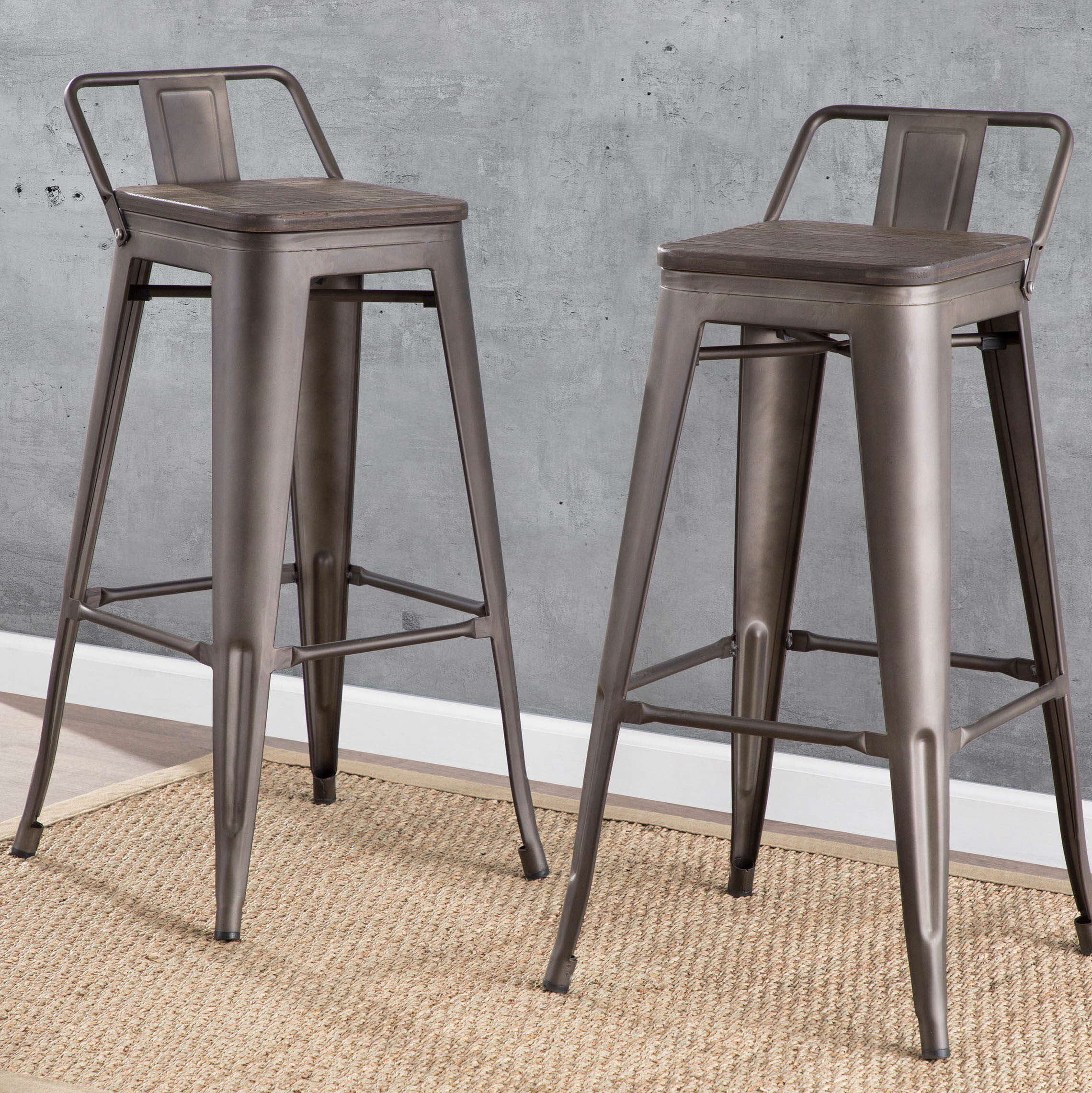 Image of: Distressed Metal Low Back Bar Stools Counter Stools Wayfair