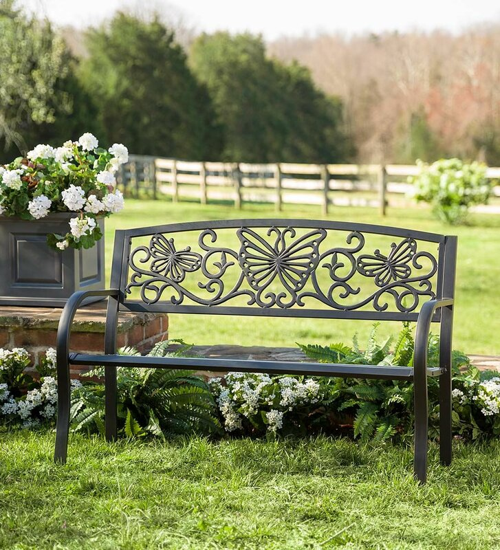 Butterfly Scroll Metal Garden Bench Part 67