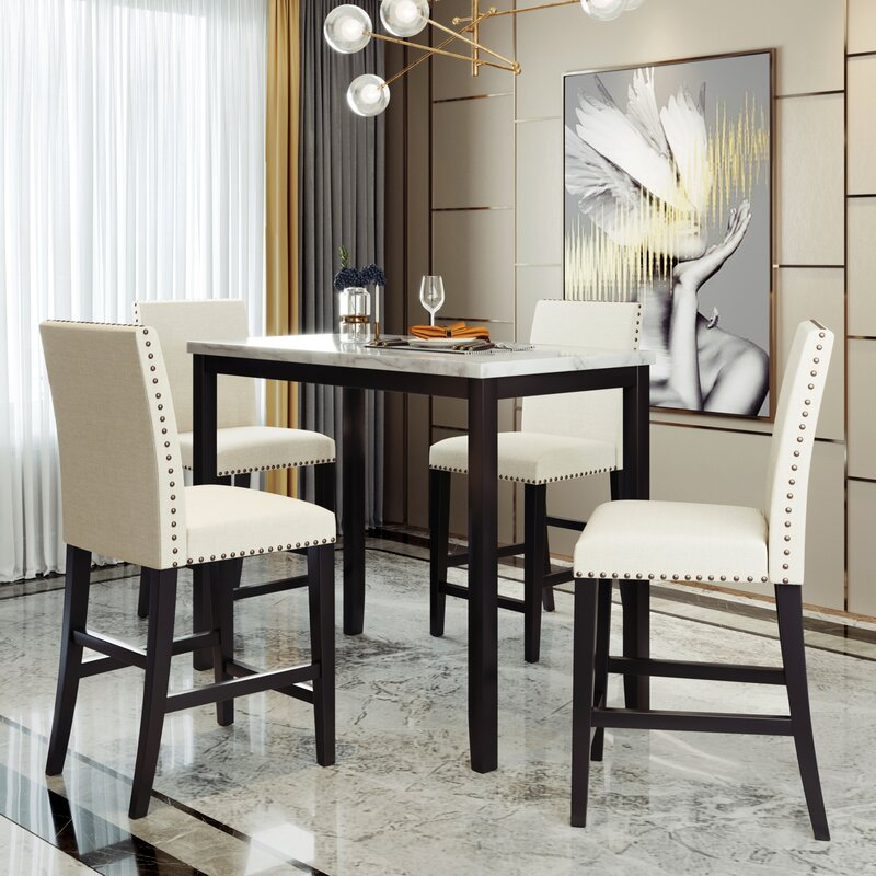 Red Barrel Studio 5 Piece Counter Height Dining Table Set Faux Marble Modern Kitchen Table With Chairs Wayfair Ca