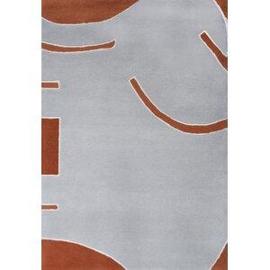 Josue Hand-Tufted Gray/Orange Area Rug