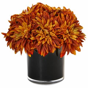 Silk Dahlia and Mums Floral Arrangement in Planter