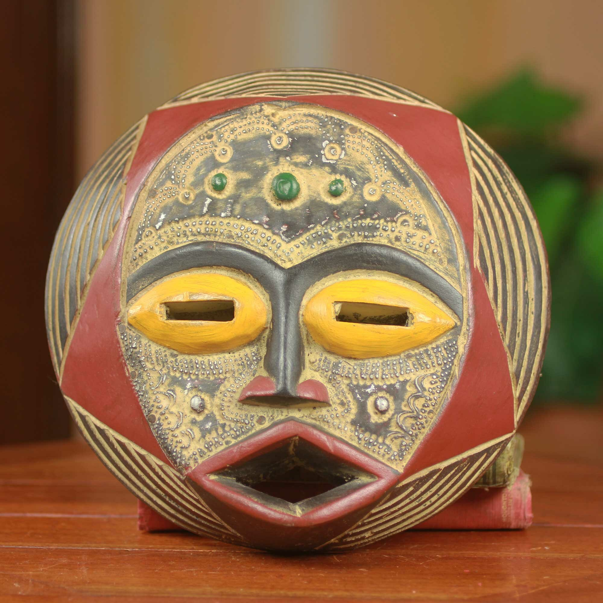 Novica Ghanaian Star Round African Hand Carved Original Wood Mask ...
