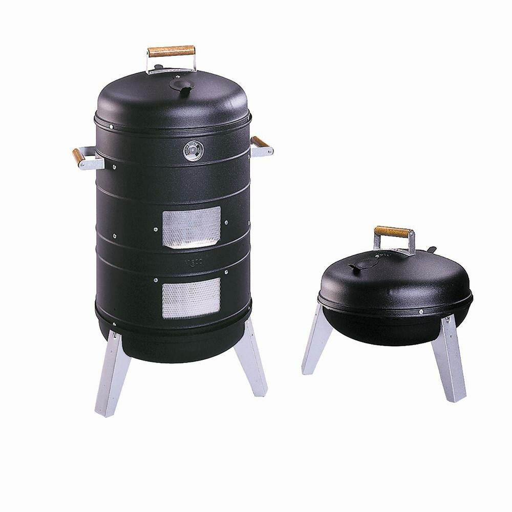 4 in 1 Electric or Charcoal Smoker /& Grill Americana 2 chrome plated cooking