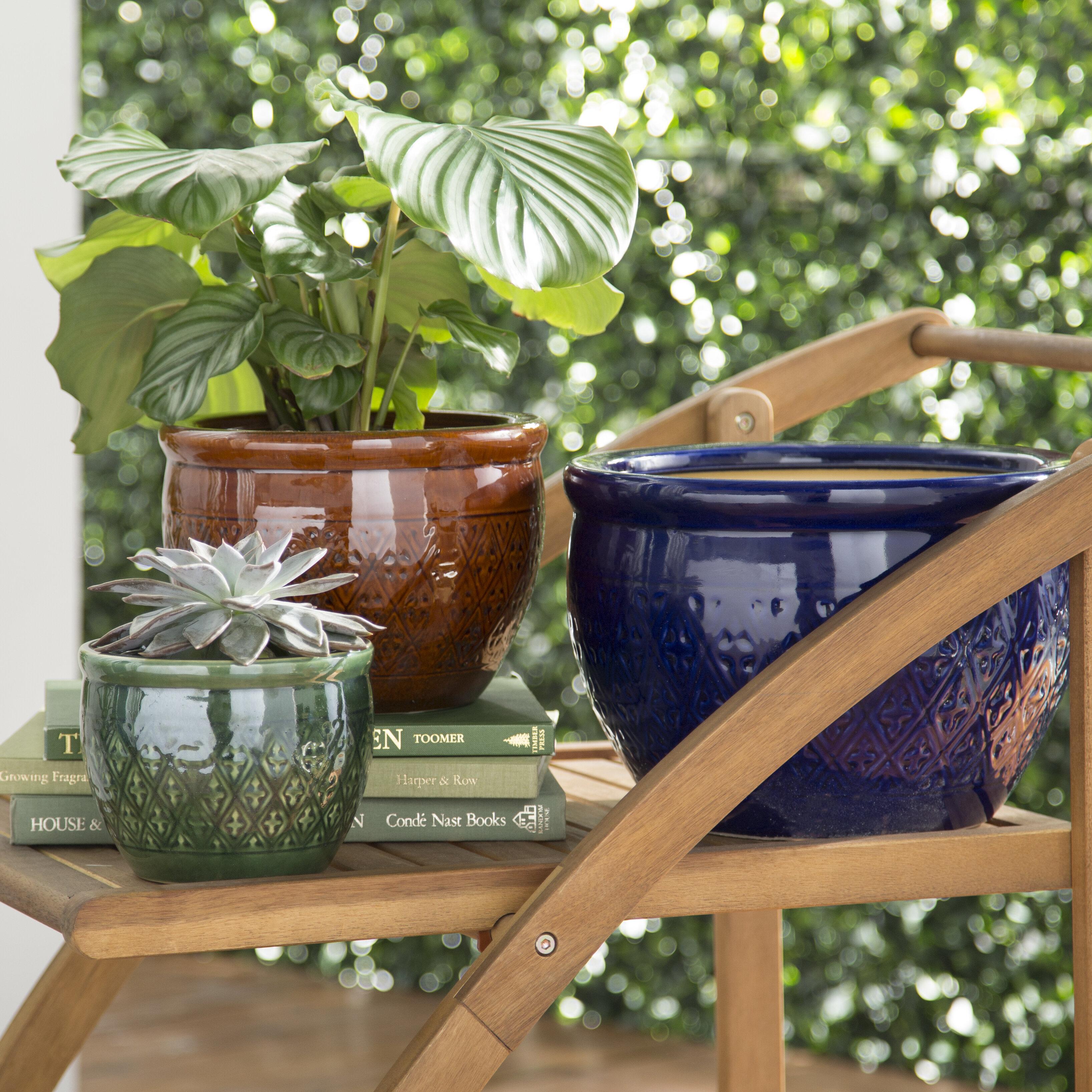 Bungalow Rose Minka 3 Piece Ceramic Pot Planter Set Reviews Wayfair Ca