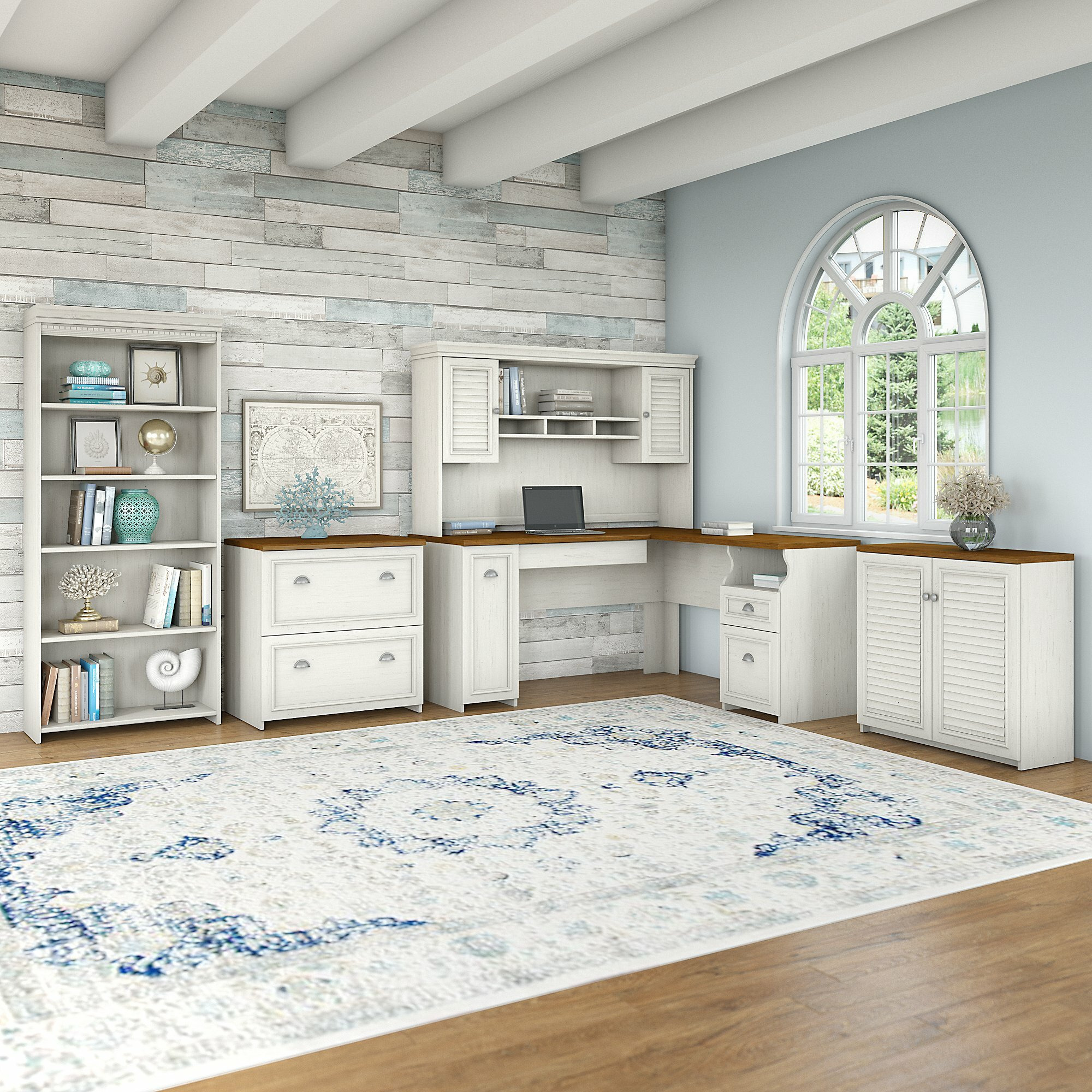 Home Office Sets Painted Office 5 Piece: Beachcrest Home Oakridge 4 Piece Office Set With Hutch