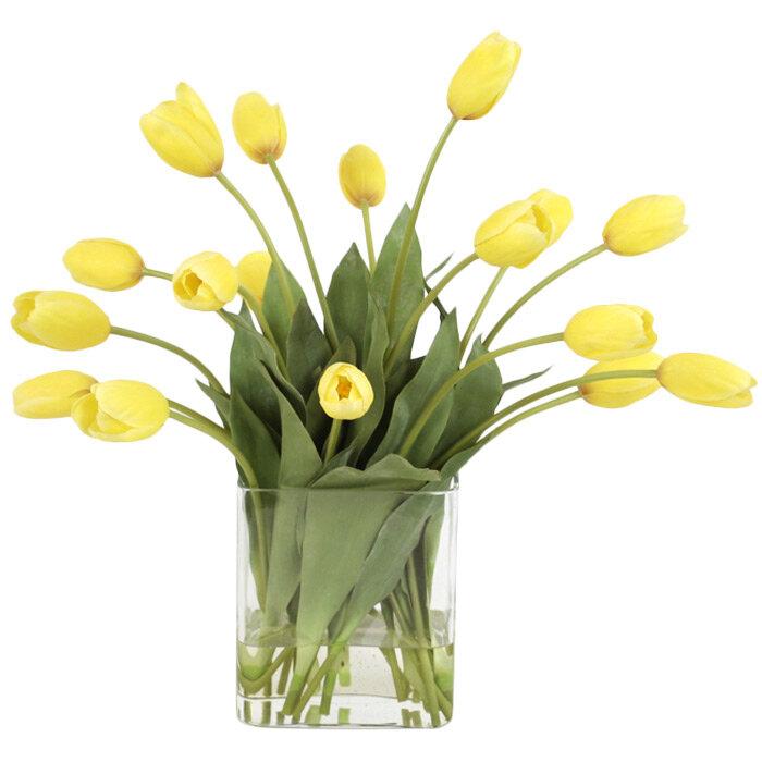 Primrue Waterlook Yellow Tulips In Rectangular Glass Vase Wayfair