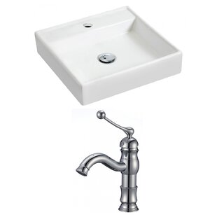 Affordable Ceramic 17.5 Wall Mount Bathroom Sink with Faucet ByRoyal Purple Bath Kitchen
