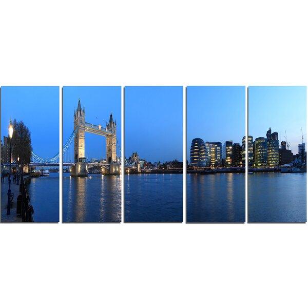Designart London Tower Bridge In Blue 5 Piece Photographic Print On Wrapped Canvas Set Wayfair