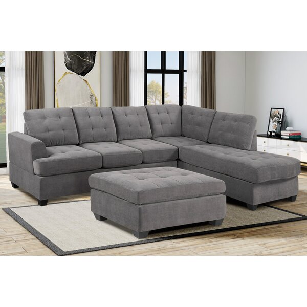 Latitude Run Bitten 104 7 Wide Microfiber Microsuede Right Hand Facing Sofa Chaise With Ottoman Wayfair