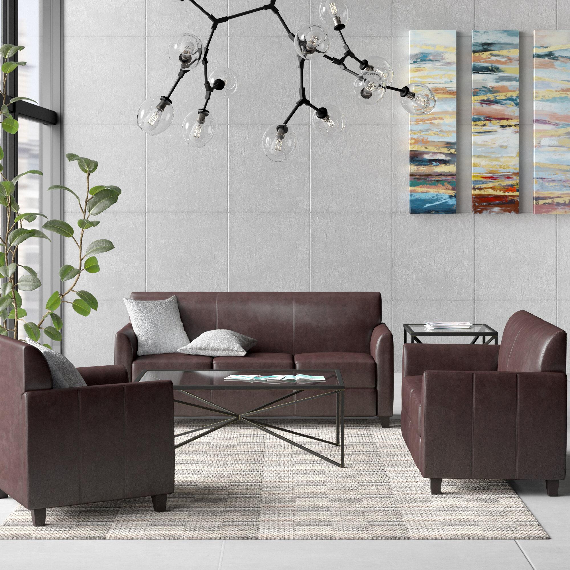 Brayden Studio Dolla Leather Configurable Reception Set Wayfair