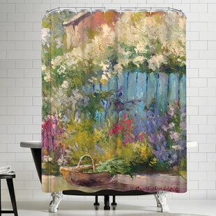 Richard Wallich Blue Fence Single Shower Curtain