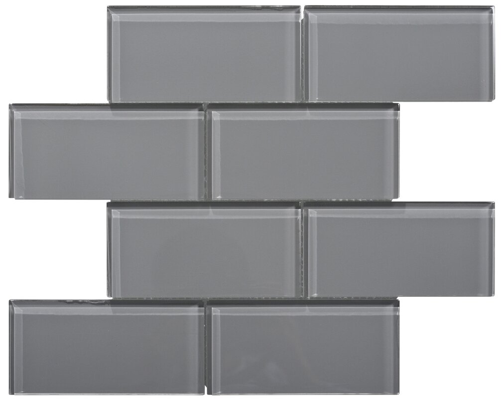 "Premium Series 3"" x 6"" Glass Subway Tile in Dark Gray"