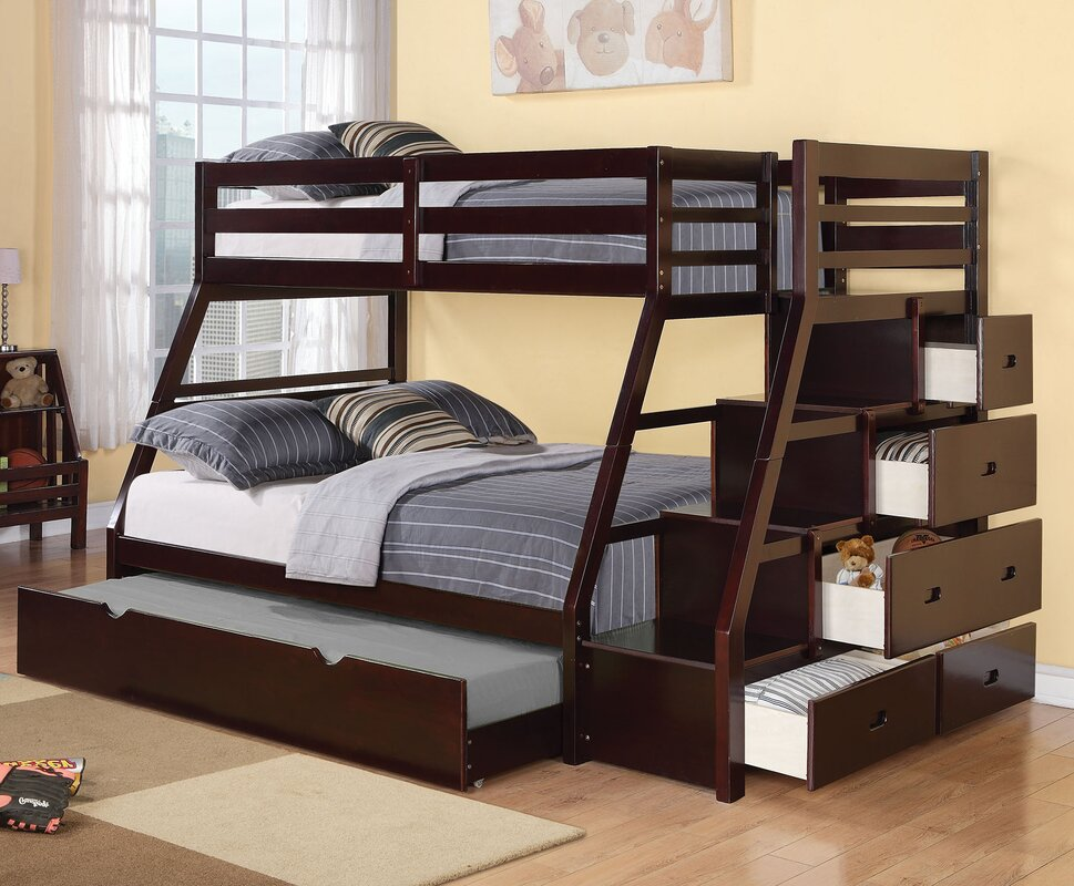 viv rae reece twin over full bunk bed with storage ladder and trundle reviews wayfair. Black Bedroom Furniture Sets. Home Design Ideas