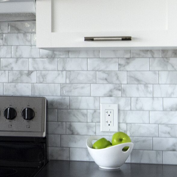 Smart Tiles Mosaik Metro Carrera X Peel Stick Subway Tile In White And Gray