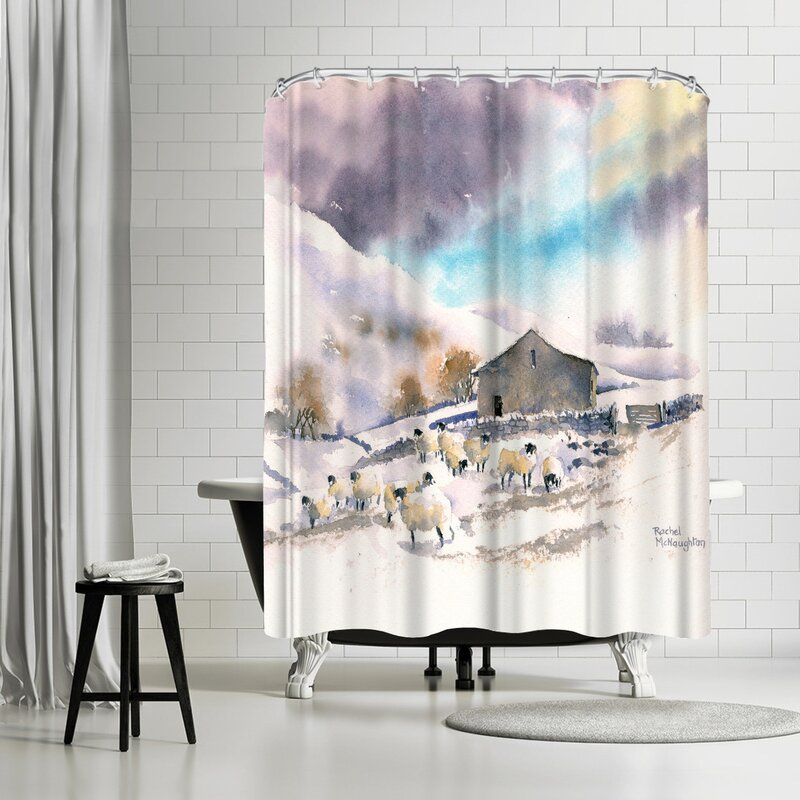 Rachel McNaughton Winter Sheep And Barn Shower Curtain