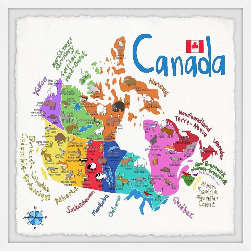 Canada Printable Map For Kids Zoomie Kids Orlon 'Canada Map' Framed Art | Wayfair.ca