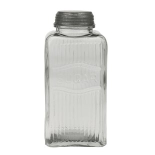 Pressed Glass Sugar Jar with Galvanized Lid