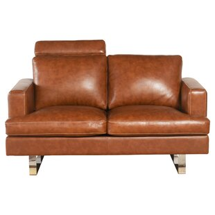 Charles Mid Century Top Grain Leather Loveseat by Brayden Studio