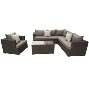 Nowak 5 Piece Rattan Sectional Set with Cushions