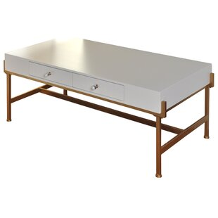 Hoch 2 Drawer Coffee Table with Tray Top and Storage