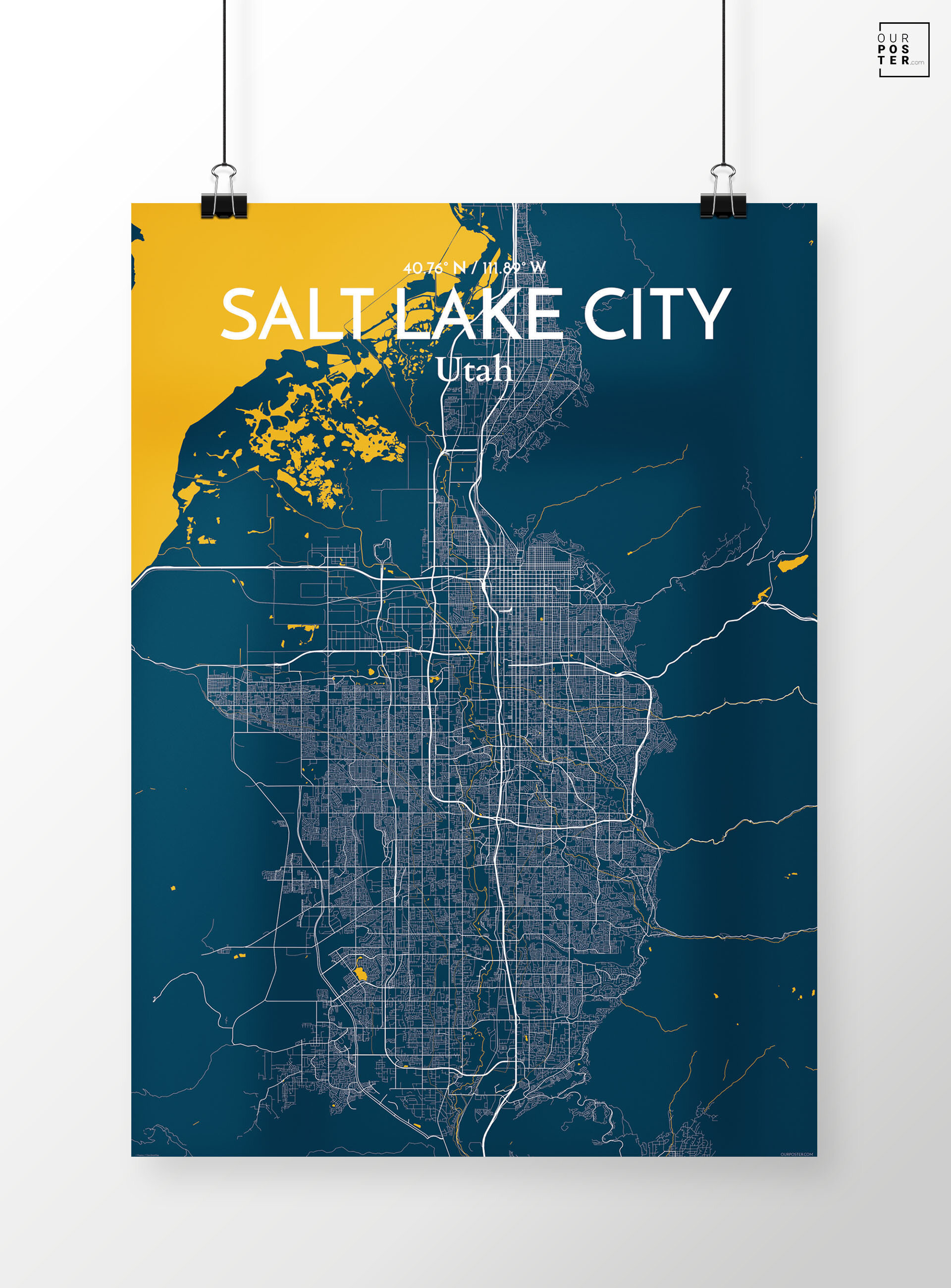 Ourposter Com Salt Lake City City Map Graphic Art Print