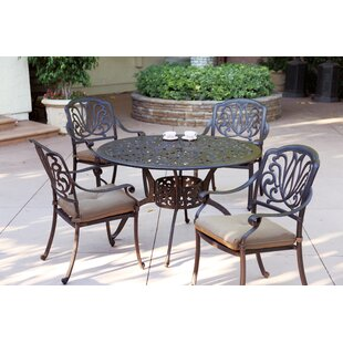 Three Posts Lebanon 5 Piece Dining Set with Cushions
