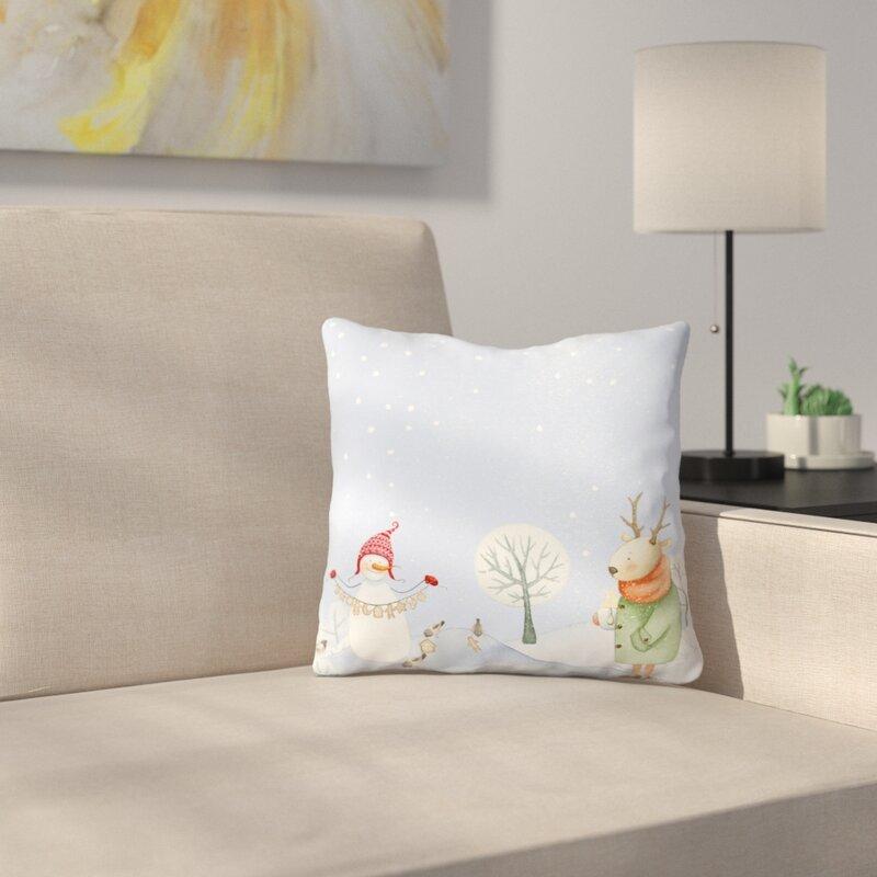 East Urban Home Deer And Snowman In Snowy Winter Forest With Little Birds Throw Pillow Wayfair