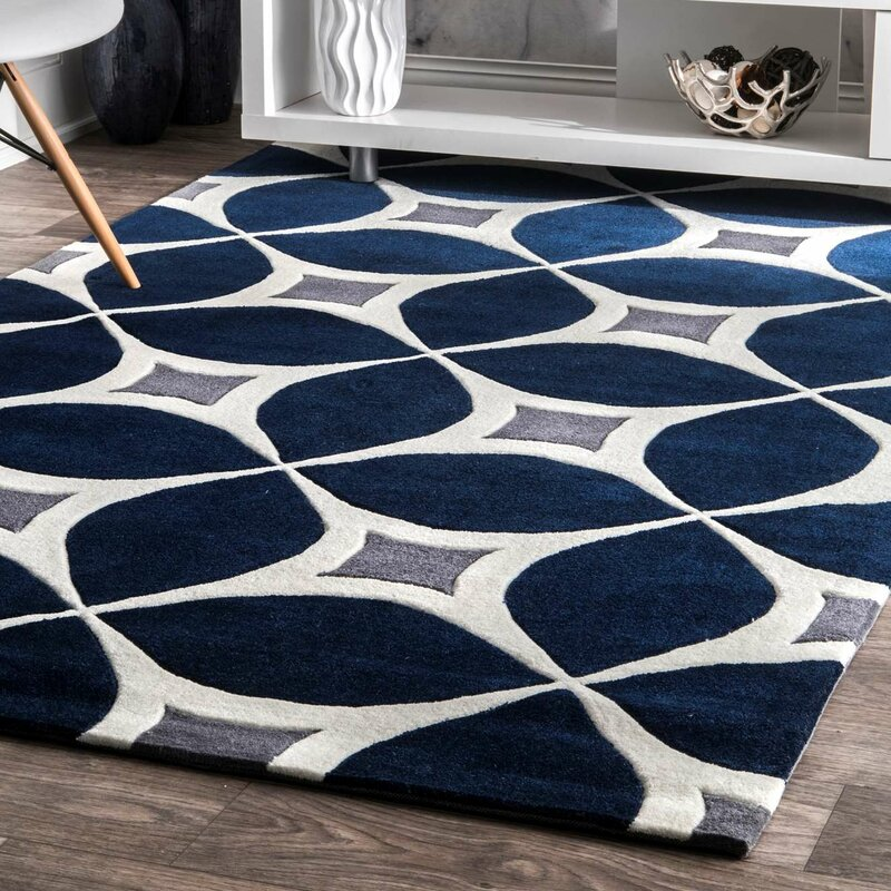 Brand-new Wrought Studio Roush Handmade Navy Blue/Gray Area Rug & Reviews  WC08