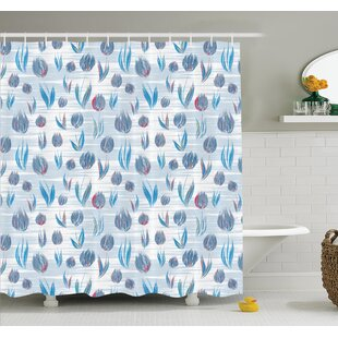 Floral Painting Effect Tulips Shower Curtain Set ByAmbesonne