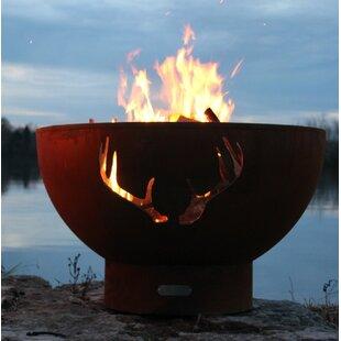 Antlers Steel Wood/Gas Fire Pit By Fire Pit Art