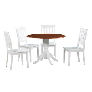 Chesterton Transitional 5 Piece Drop Leaf Solid Wood Dining Set by Alcott Hill