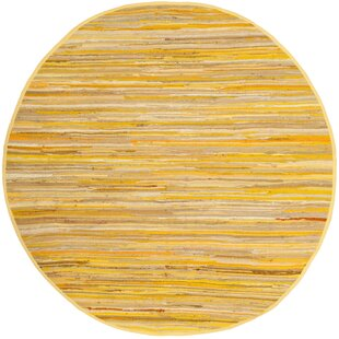 Hand-Woven Cotton Yellow Area Rug by Safavieh