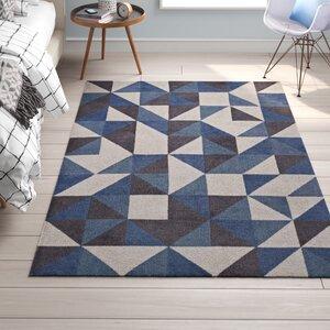 Trule Teen Babcock Geometric Triangle Mosaic Bluewhitegray