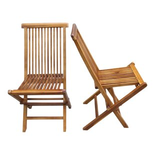 Burnett Folding Teak Patio Dining Chair (Set of 2)
