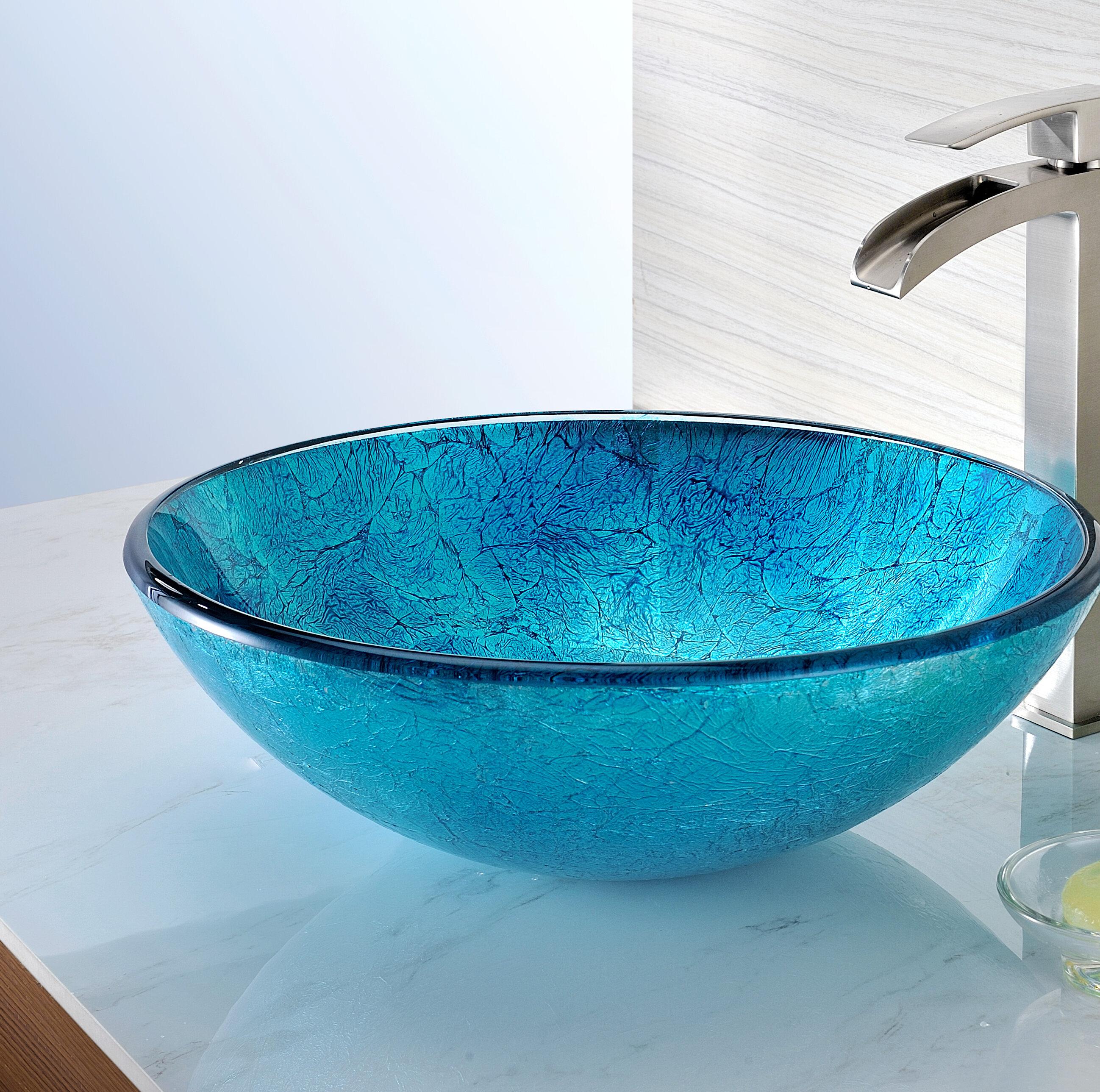 Anzzi Tereali Series Blue Ice Tempered Glass Circular Vessel Bathroom Sink Wayfair Ca