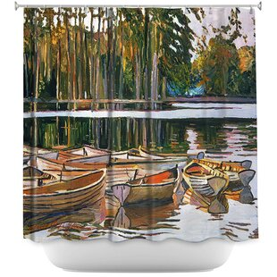 Lake Boats Paris Single Shower Curtain