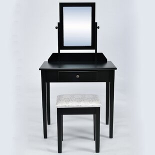 Winston Porter Maude Classic Wood Make-Up Vanity Set with Mirror
