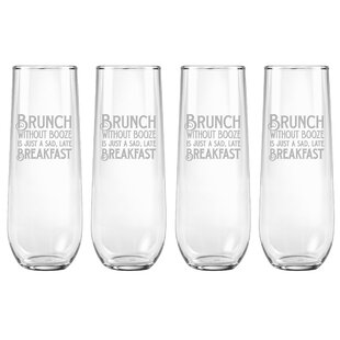 Brunch Without Booz 9 oz. Glass Flute (Set of 4)