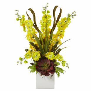 Delphinium/Succulent Floral Arrangements in Decorative Vase