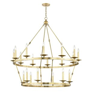 Longshore Tides Castiglia 20-Light Wagon Wheel Chandelier