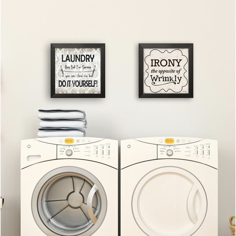 'Traditional Irony and Laundry Do It Yourself' 2 Piece Textual Art Set