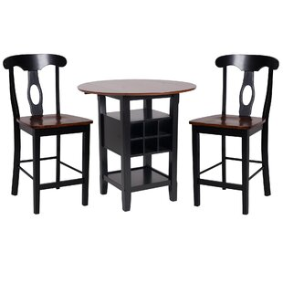 Yates 3 Piece Counter Height Drop Leaf Dining Set (Set of 3)