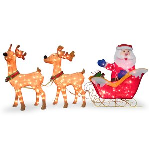 santa with 2 deer sleigh christmas decoration - Outdoor Christmas Reindeer Decorations Lighted